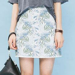 Heynew - Floral Print Mini A-Line Skirt