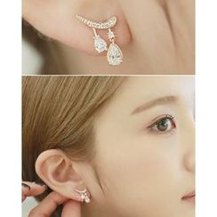 Miss21 Korea - Rhinestone Teardrop Dangle Earrings
