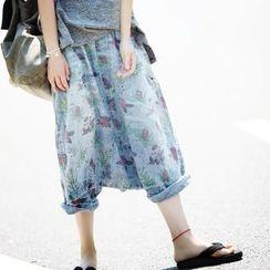YORU - 印花七分牛仔褲