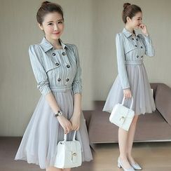Mandalle - 條紋雙排扣長袖網紗連衣裙
