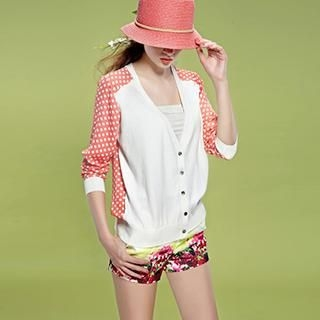 ELF SACK - Dotted Chiffon-Back Cardigan