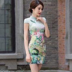 Miss Four Qipao - 印花盖袖雪纺旗袍