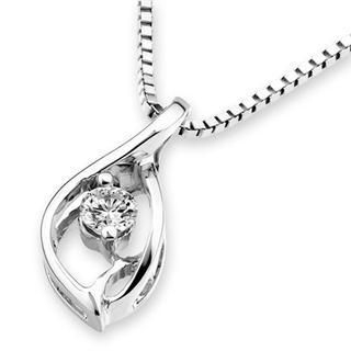 MaBelle - 18K White Gold Droplet Diamond Solitaire Pendant (1/10 cttw) (FREE 925 Silver Box Chain)