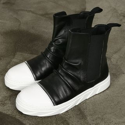 Rememberclick - Genuine Leather Color-Block High-Top Sneakers