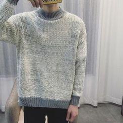 JUN.LEE - Mélange Mock Neck Sweater