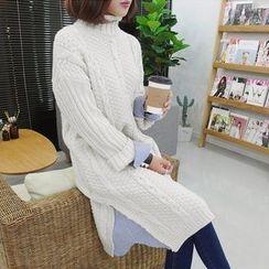 Seoul Fashion - Inset Stripe Shirt Midi Cable-Knit Dress