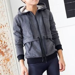 Morning Body - Drawstring Waist Sports Hooded Jacket