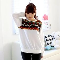 Cocopop - Pattern-Trim Round-Neck Top