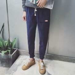 JUN.LEE - Drawstring Corduroy Harem Pants