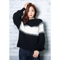 REDOPIN - Puff-Sleeve Color-Block Knit Top