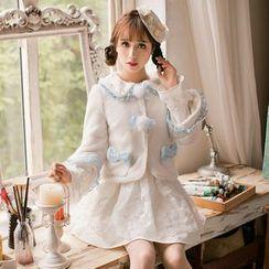 Candy Rain - Ruffle Trim Woolen Coat