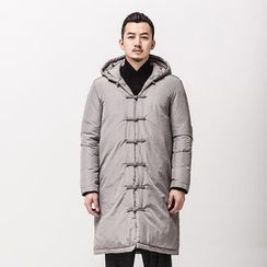 Ashen - Chinese-Style Frog-Button Hooded Down Coat