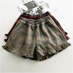 Storyland - Frilled-Trim Plaid Shorts