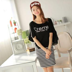 SUYISODA - Set: Printed Top + Striped Sleeveless Dress