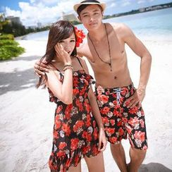 Sunset Hours - Couple Floral Bikini / Swim Shorts