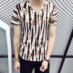 JEUX - Print V-neck Short-Sleeve T-shirt