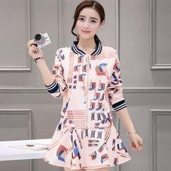 Sienne - Set: Printed Zip Jacket + A-Line Skirt