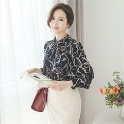 ode' - Tie-Neck Patterned Top