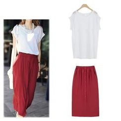 Monfer - Set: Plain Short Sleeve T-Shirt + Buttoned Midi Skirt