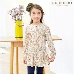 LILIPURRI - Girls Keyhole-Front Ruffle-Hem Top