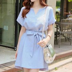 Jolly Club - Short-Sleeve Tie-Waist Dress