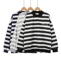 Momewear - Embroidery Striped Sweater
