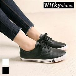 Wifky - Faux-Leather Lace-Up Sneakers