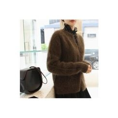 CHERRYKOKO - Snap-Button Wool Blend Furry Cardigan