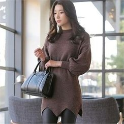 CHICLINE - Asymmetric-Hem Sweater