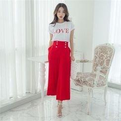ERANZI - High-Waist Buttoned Linen Blend Wide-Leg Pants