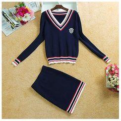 Daina - Set: V-Neck Knit Pullover + Knit Skirt