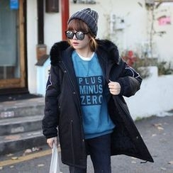 Seoul Fashion - Faux-Fur Trim Hooded Parka