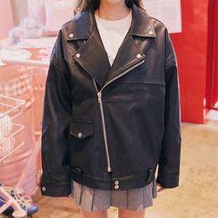 icecream12 - Faux-Leather Rider Jacket