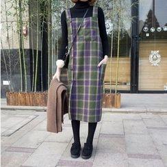 wisperia - Plaid Midi Jumper Dress