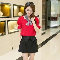 Mooiee - Set: Puff-Sleeve Top + Bow-Accent Skirt