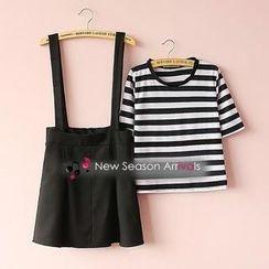 Munai - Set: Striped T-Shirt + Suspender Skirt