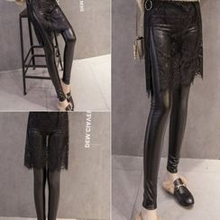 Velero - Lace Overlay Faux Leather Leggings