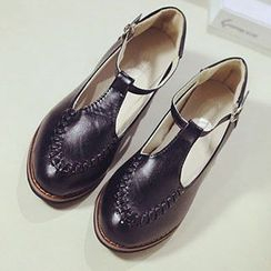 Zandy Shoes - Faux-Leather T-Strap Loafers