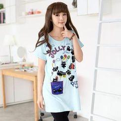 59 Seconds - 印花貓貼布繡 T 恤連衣裙