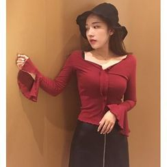 Bloombloom - Bell-Sleeve V-neck Blouse