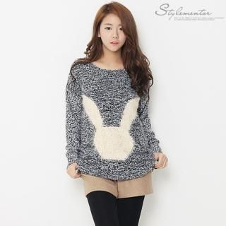 Stylementor - Rabbit Print Marled Knit Sweater