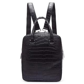 MBaoBao - Faux-Leather Croc-Grain Backpack