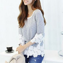 Fashion Street - 3/4-Sleeve Lace-Trim Top