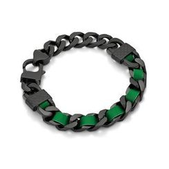 Kenny & co. - Green Leather Screw IP Black Bracelet