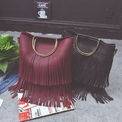 Pandabada - Faux-Leather Fringe-Trim Satchel