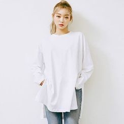 chuu - Slit-Side Cotton Long T-Shirt