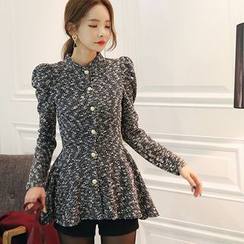 DABAGIRL - Puff-Shoulder Metal-Button Peplum Cardigan