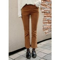 J-ANN - Corduroy Boot-Cut Pants