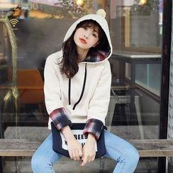 Tokyo Fashion - Plaid-Panel Hoodie