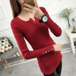 anzoveve - V-Neck Long-Sleeve Knit Top